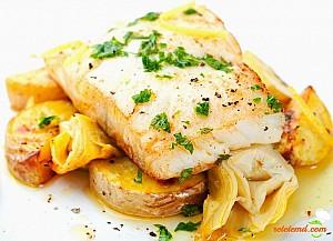 Cod fript în unt de usturoi