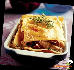 Lasagna cu pui și ciuperci