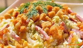 Salata cu cascaval si pesmeti (suhari)
